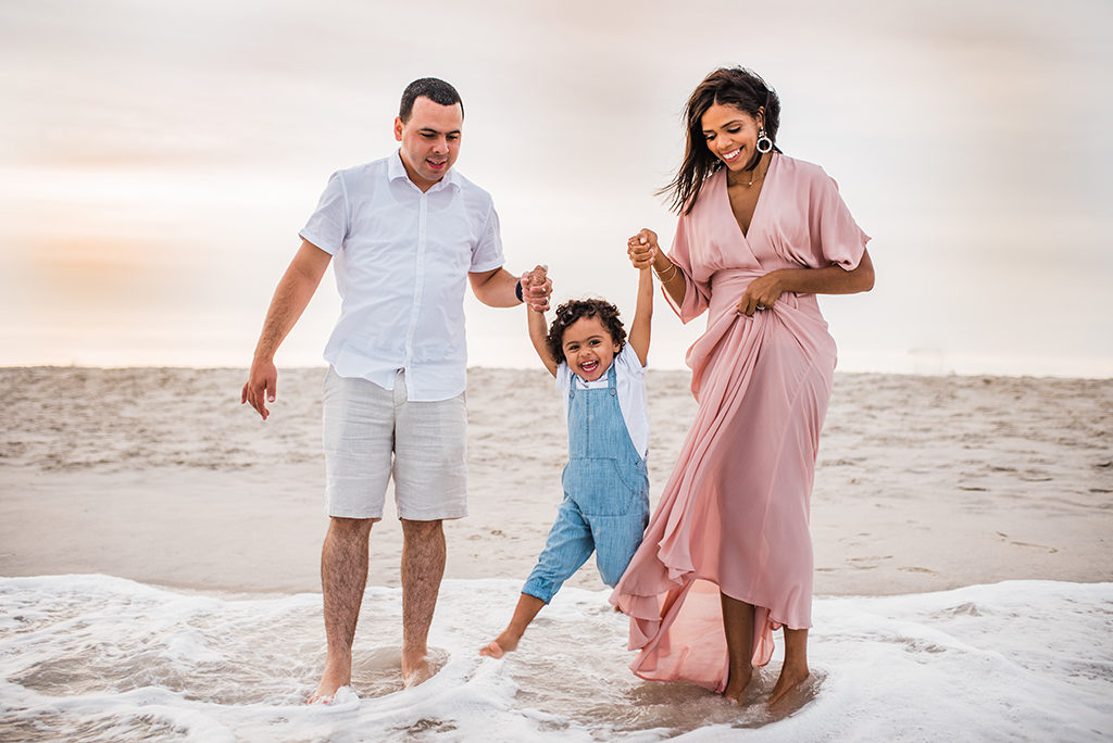 Family on beach. Dress from Rent the Runway